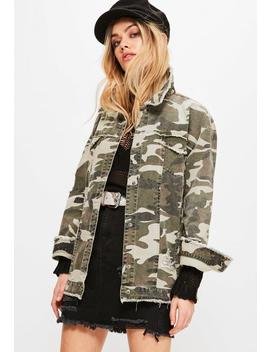 Khaki Camouflage Raw Edge Trucker Jacket by Missguided