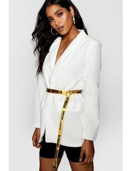 Tape Belted Blazer by Boohoo