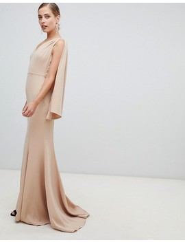Yaura Plunge Front Maxi Dress With Cape Detail In Taupe by Yaura