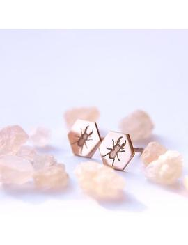 Minimaliste Eco Friendly Hexagone Lucane Boucles D'oreilles, Plaqué Or Rose En Argent by Etsy