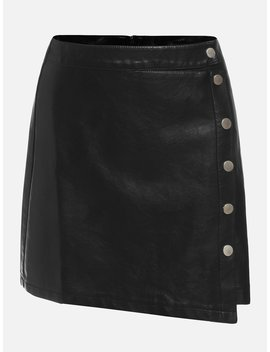 Button Detail Solid Skirt by Romwe