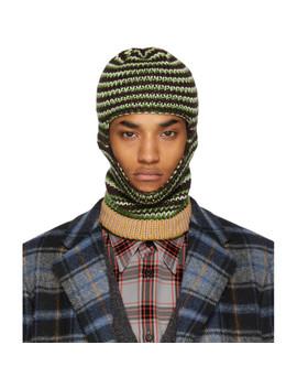 Brown & Green Striped Balaclava by Calvin Klein 205 W39 Nyc
