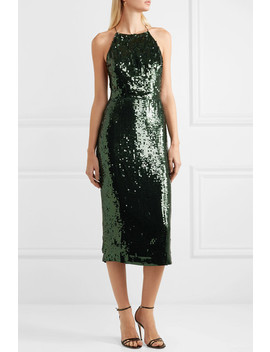 Open Back Sequined Georgette Midi Dress by Jason Wu