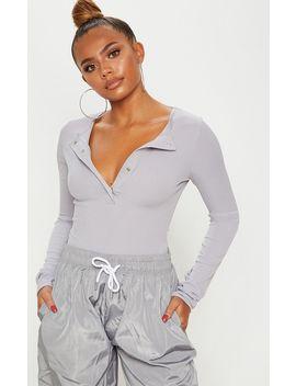Grey Marl Long Sleeve Rib Popper Bodysuit by Prettylittlething