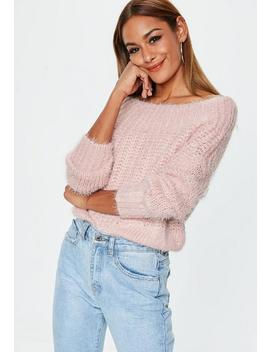 Pink Bardot Fluffy Jumper by Missguided