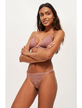 Cotton Lace Thong by Topshop