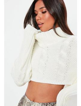 Cream Super Cropped Cable Jumper by Missguided