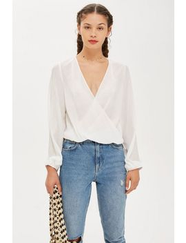 Casual Drape Wrap Blouse by Topshop