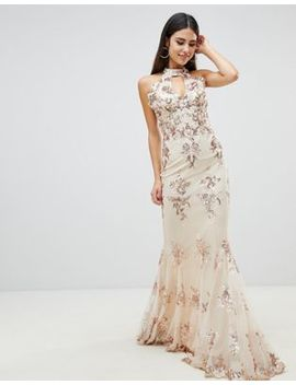 Goddiva Maxi Dress With Gold Embellishment In Cream by Goddiva