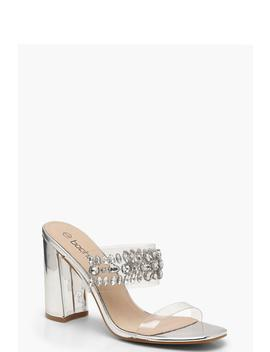 Embellished Clear Strap Mule Heels by Boohoo