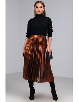 Pick Me Up Metallic Pleated Midi Skirt by Akira