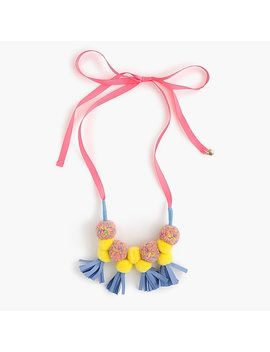 Girls' Pom Pom And Tassel Ribbon Necklace by J.Crew