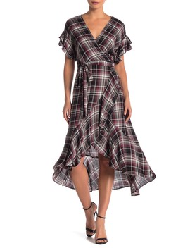Plaid Ruffled Wrap Dress by Max Studio