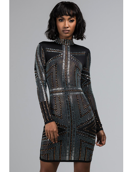 Dancing In The Sky Bedazzled Mini Dress by Akira