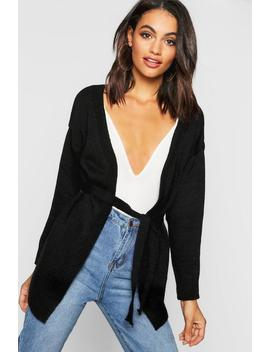Wrap Tie Front Cardigan by Boohoo