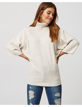 Rib Knit Cowl Neck Poncho Sweater by Le Chateau