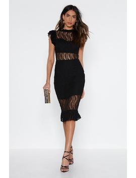 Lace High Neck Midi Dress by Nasty Gal