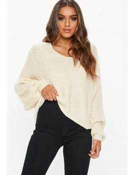 Sand V Neck Cropped Basic Jumper by Missguided