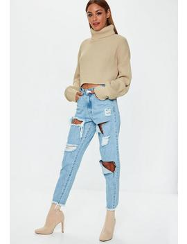 Sand High Neck Balloon Sleeve Cropped Jumper by Missguided
