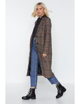 Check Longline Coat by Nasty Gal