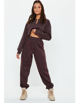 Brown 80s Brush Back Joggers by Missguided