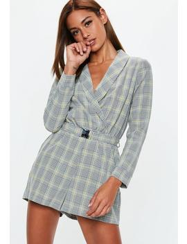 Grey Heritage Check Belted Playsuit by Missguided