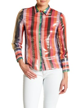 Metallic Stripe Shirt by Alice + Olivia