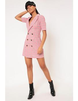Pink Check Button Shirt Dress by I Saw It First