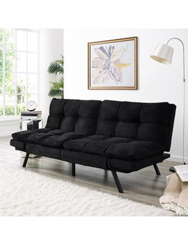 Simmons Portland Convertible Sofa With Memory Foam Seating Black by Simmons