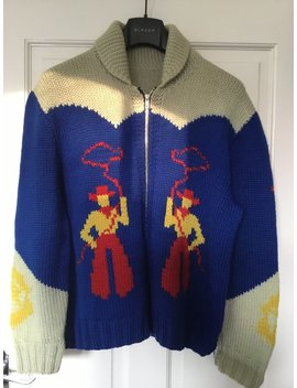 Vintage 1980s Men's Hand Knit Cowichan Cardigan Sweater Cowboy Lasso Horses by Etsy