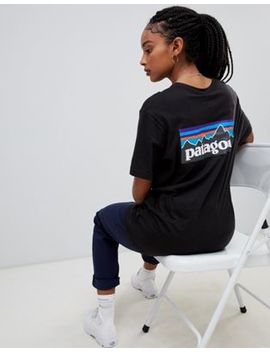Patagonia Oversized P 6 Logo Organic T Shirt In Black by Patagonia
