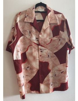 Rare Vtg Mark Raysten Wide Collar Red Asian Crane 70's Hawaiian Shirt Size M by Mark Raysten