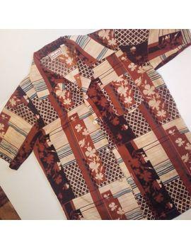 Vtg 60s 70s Tribal Hawaiian Button Up Shirt Hawaii M by Landmark
