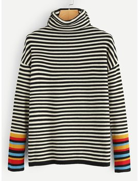 Plus Striped High Neck Jumper by Romwe