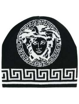 Logo Knit Beanie by Versace