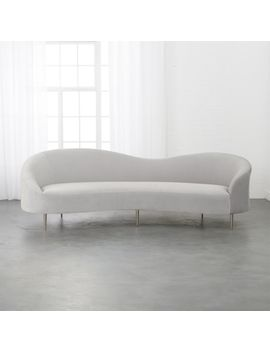Curvo Light Grey Velvet Sofa by Crate&Barrel