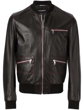 Contrast Stitched Leather Bomber Jacket by Dolce & Gabbana
