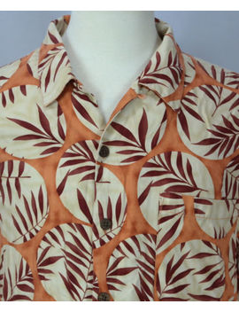 Men's Tommy Bahama Orange Leaf Print 100 Percents Silk Button Up Short Sleeve Shirt Sz L by Tommy Bahama