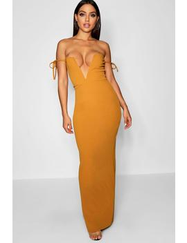 Extreme Plunge Tie Detail Maxi Dress by Boohoo