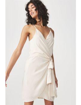 Woven Satin Strappy Wrap Midi Dress by Cotton On