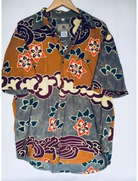 New! Mens Territory Ahead Floral Tribal Abstract Print Button Up Shirt Rayon L by Territory Ahead