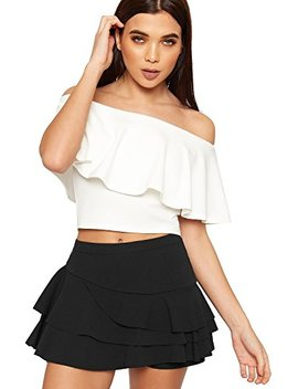 Wear All Women's Frill Trim Rara Skirt New Ladies High Waisted Plain Skort Stretch Shorts 6 12 by Wear All