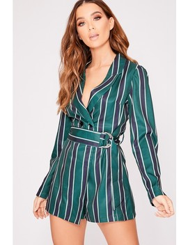 Aiesha Green Striped Belted Blazer Playsuit by In The Style