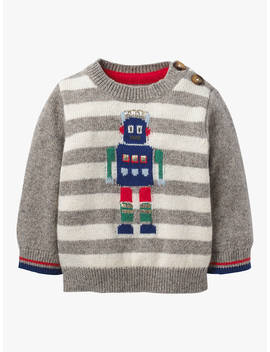 Mini Boden Baby Robot Stripe Knitted Jumper, Silver Marl/ Ecru by Mini Boden