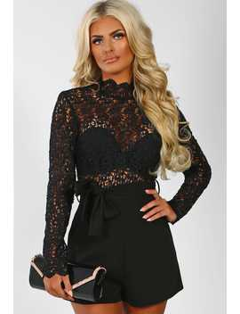 Queen Bee Black Crochet Top Long Sleeve Playsuit by Pink Boutique