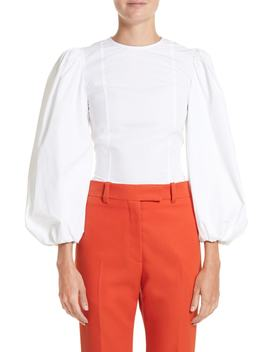 Balloon Sleeve Cotton Poplin Blouse by Calvin Klein 205 W39 Nyc