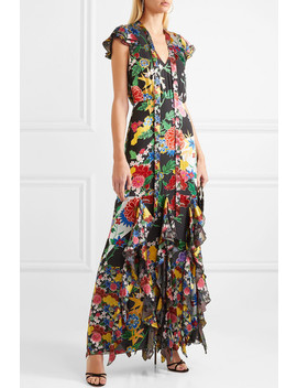 Laurette Ruffled Floral Print Satin Maxi Dress by Alice + Olivia
