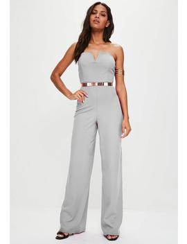 Grey V Bandeau Wide Leg Jumpsuit by Missguided
