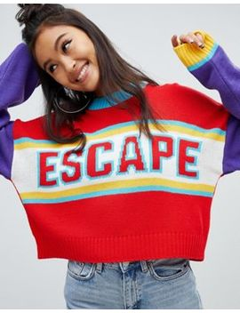 The Ragged Priest Cropped Knitted Jumper With Slogan by The Ragged Priest
