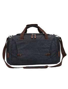 Weimi Men's Overnight Bag Canvas Weekend Travel Duffel Bag Carry On Luggage Tote Bag (Black) by Weimi